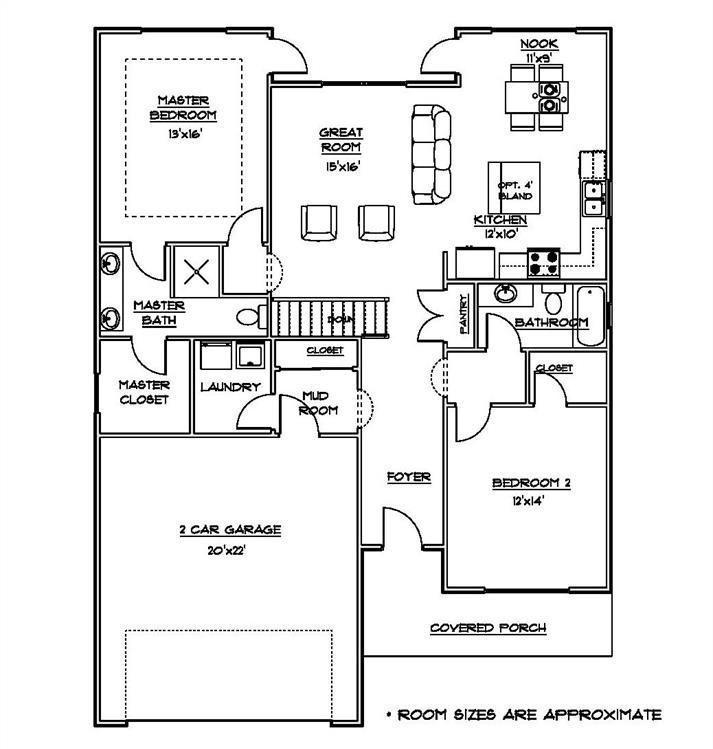 2 Bed Ranch Floor Plan